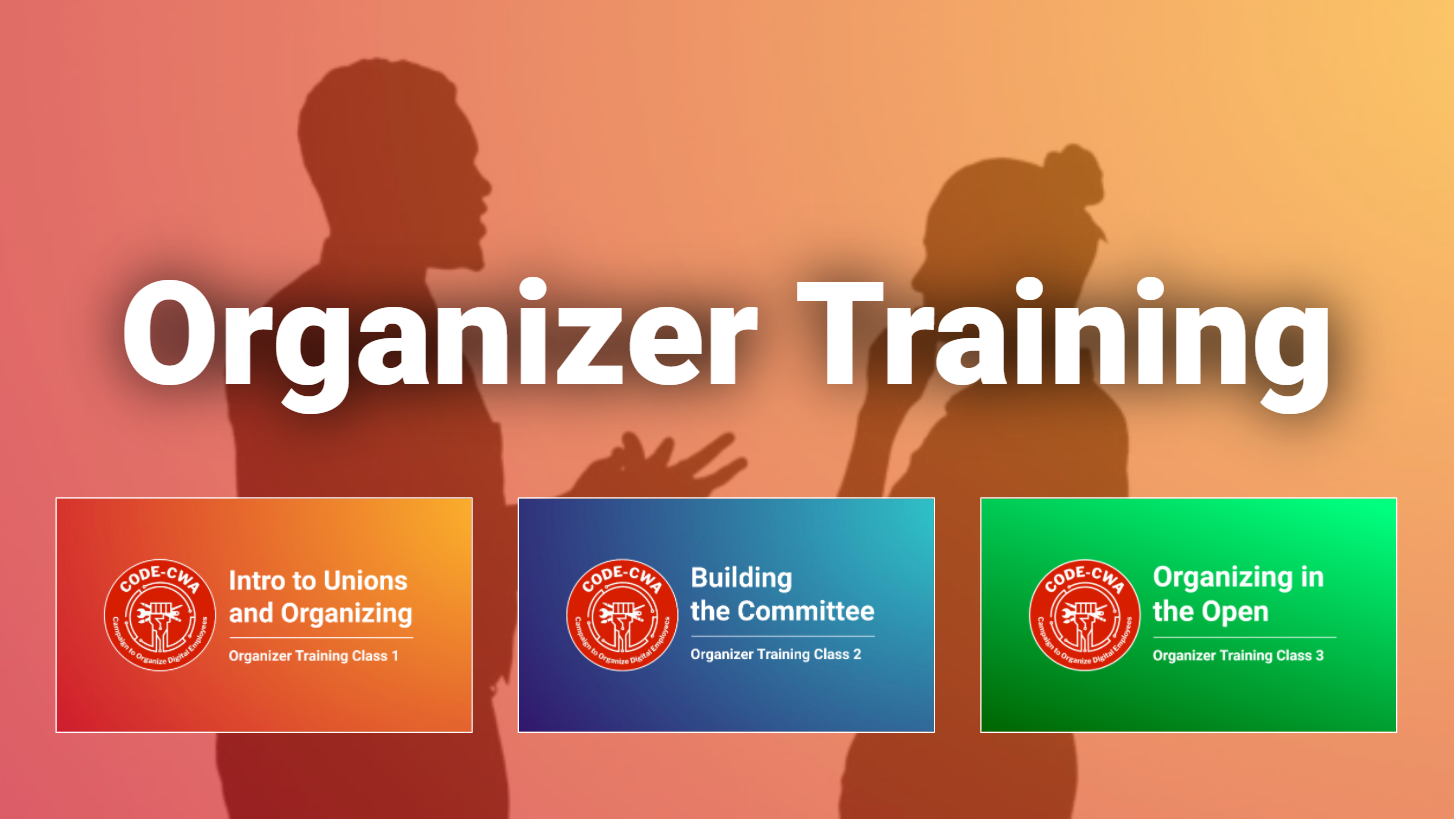 """Sillohuette image of two people talking with the words """"Organizer Training"""" across the image, and three thumnails of organizer training class presentation slides."""