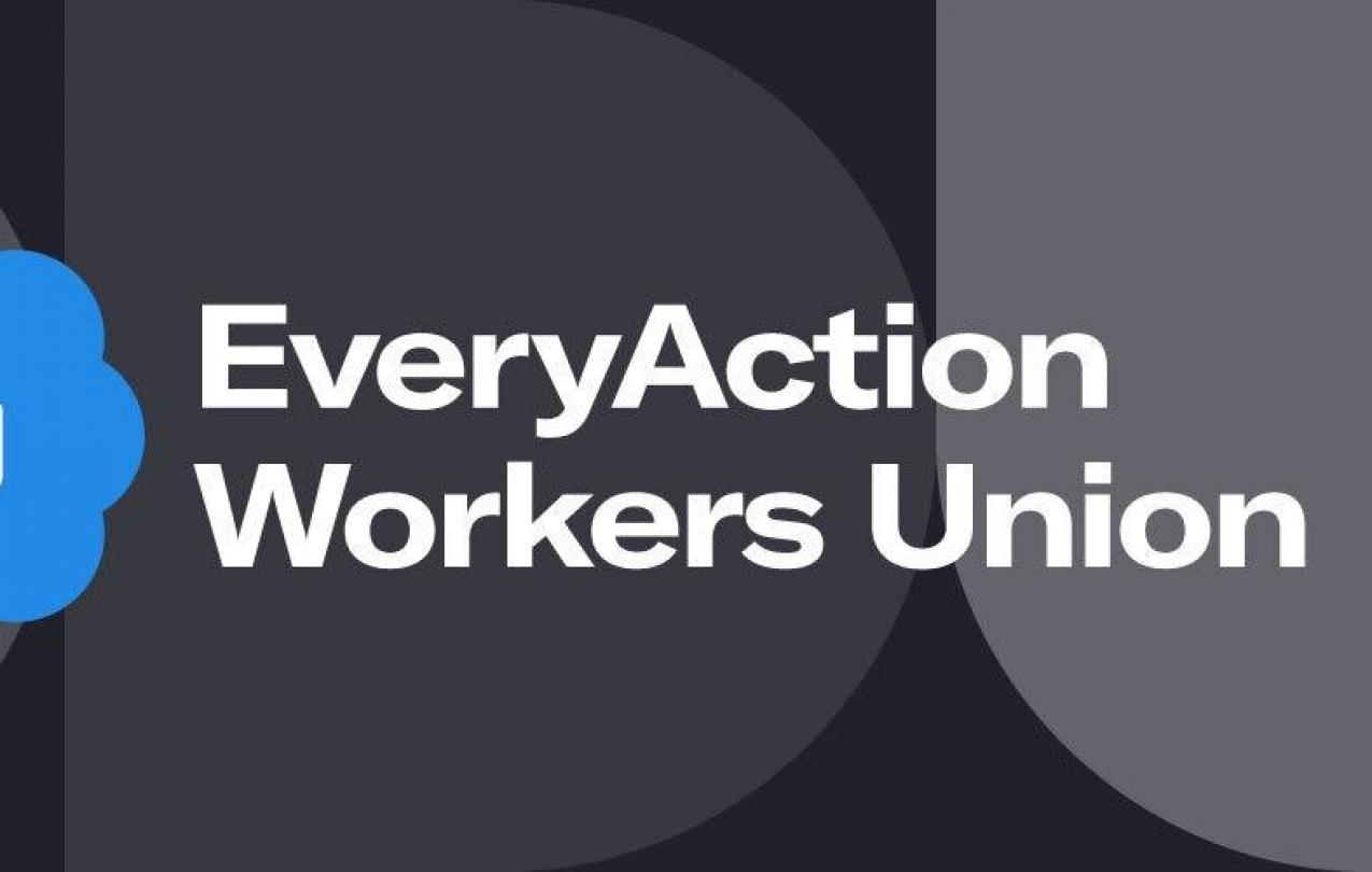 """EveryAction union logo with a white fist on a blue background and the words """"Every Action Workers Union"""""""