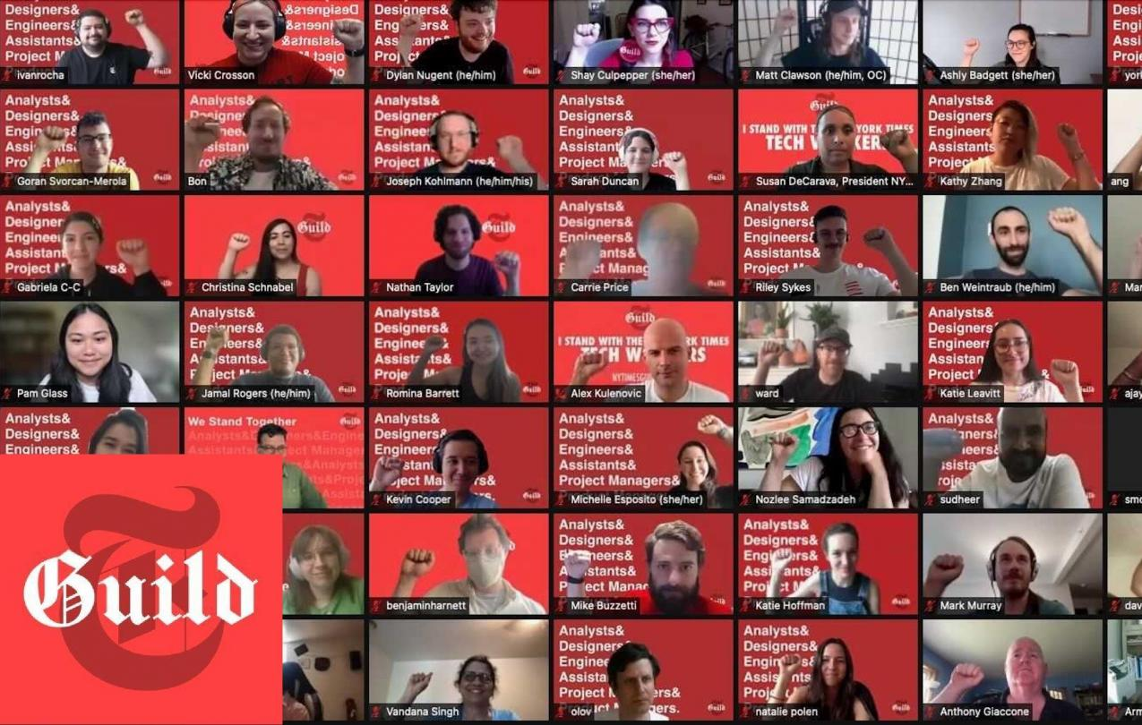 Screenshot of New York Times tech workers on a zoom call with the NYT Tech guild logo