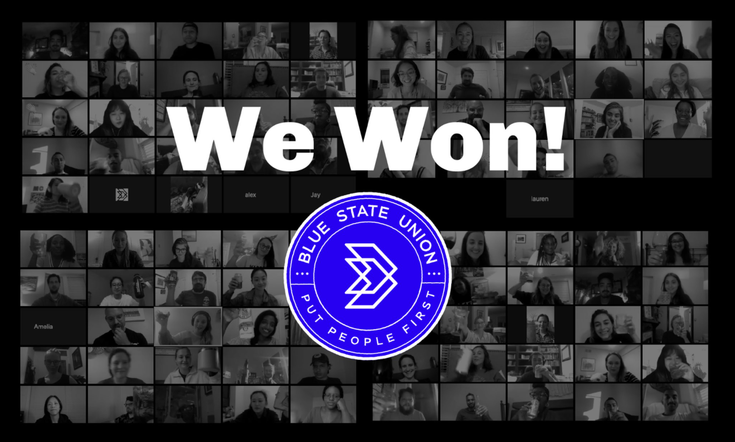 """Photo of many workers on zoom taking a solidarity photo with the Blue State union logo and the words """"We Won!"""""""