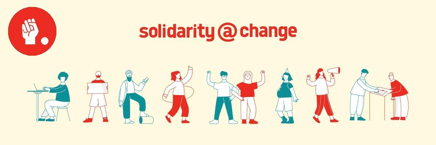 """Illustration reading """"Solidarity at Change"""", with the Change.org union logo, and several illustrated workers"""